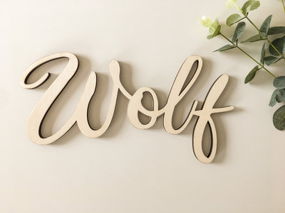 Houten naam 'Wolf'