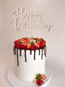 Houten caketopper 'Happy Birthday'